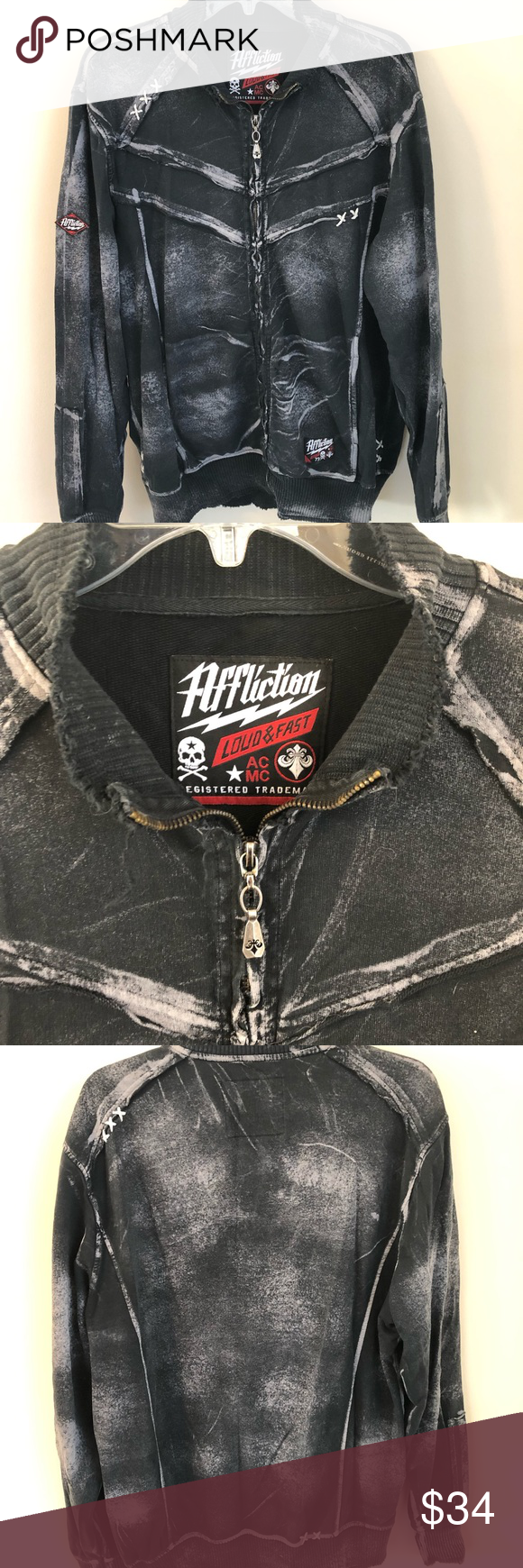 Buckle Affliction Zippered Graphic Jacket Graphic