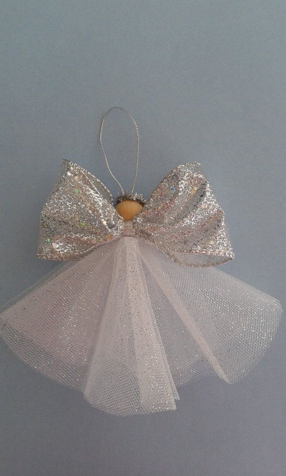 Angel ornament, silver angel ornament ,Christmas angel, tree angel, tulle angel, sparkle angel ornament