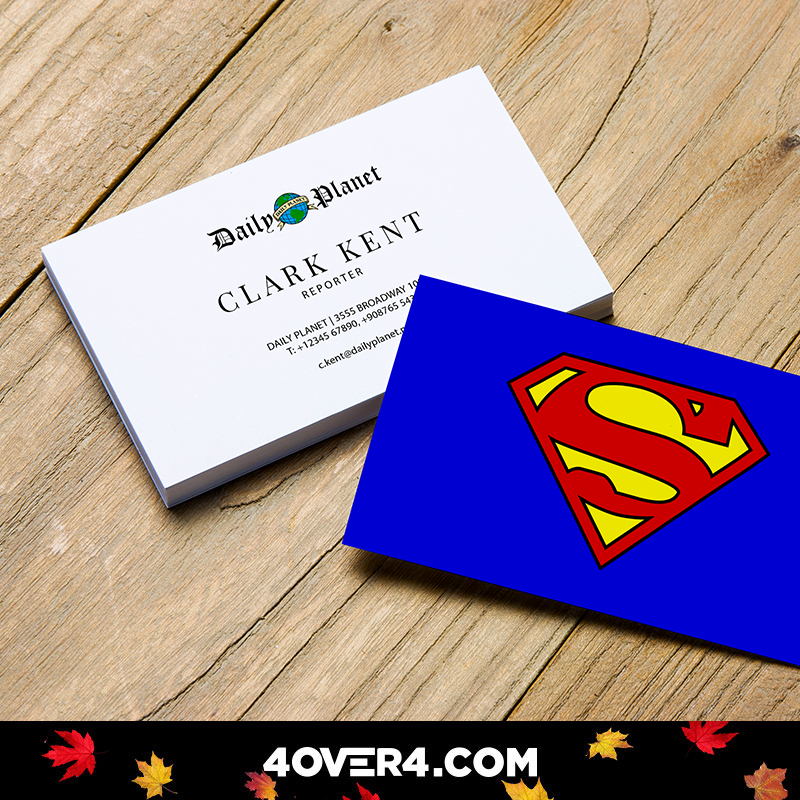 When It Comes To Designing Your Business Cards Be A Hero Print Your Own Today At 4over4 Printing Business Cards Printed Cards Business Cards Creative