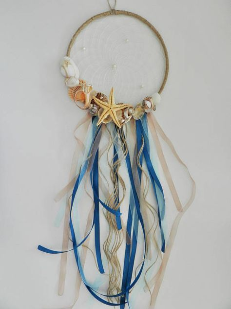 Nautical Sea Dream catcher Summer dreamcatcher Ocean themed decor summer shells beach decoration Boho design New home gift Art decor