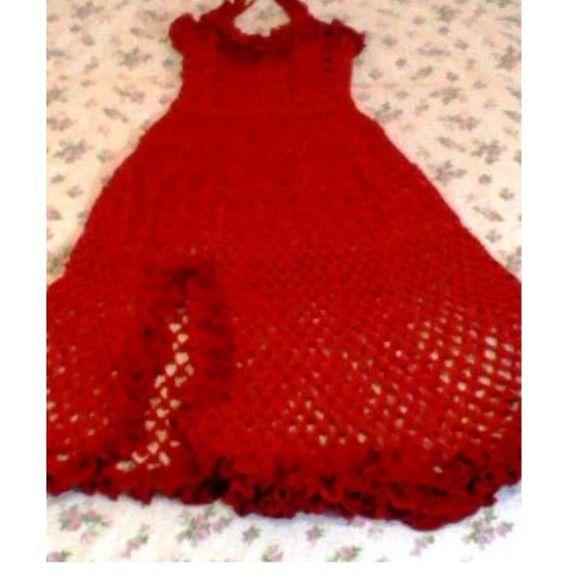 Vestido vermelho longo de festa em crochê 484ad3b9f98
