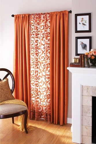 Use A Pattern In The Middle Love This Idea  No Sew Window Alluring Orange Curtains For Living Room Inspiration Design