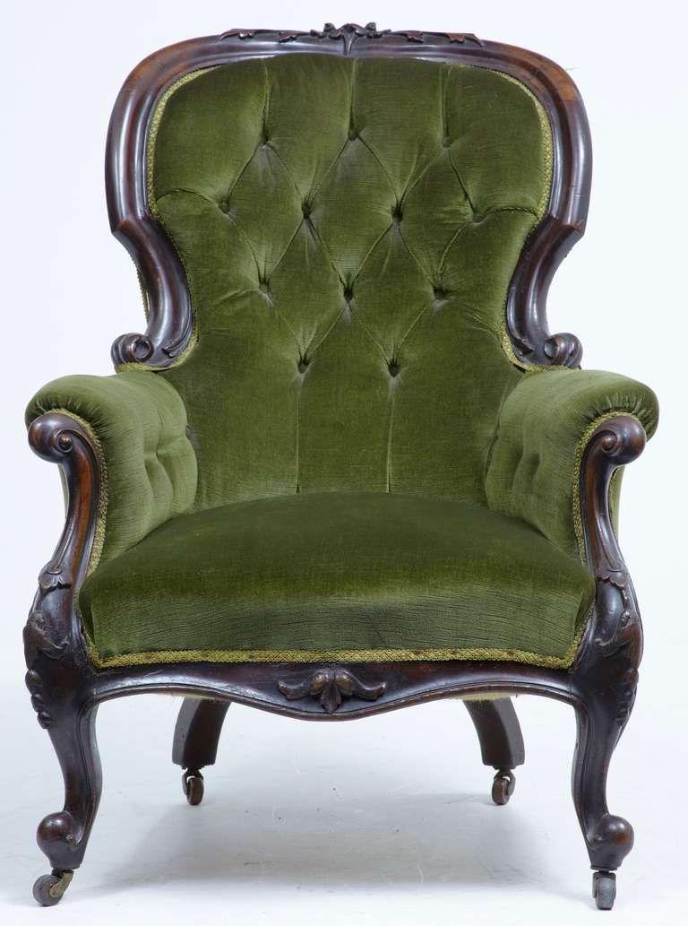 19th Century Victorian Carved Dark Walnut Lounge Chair