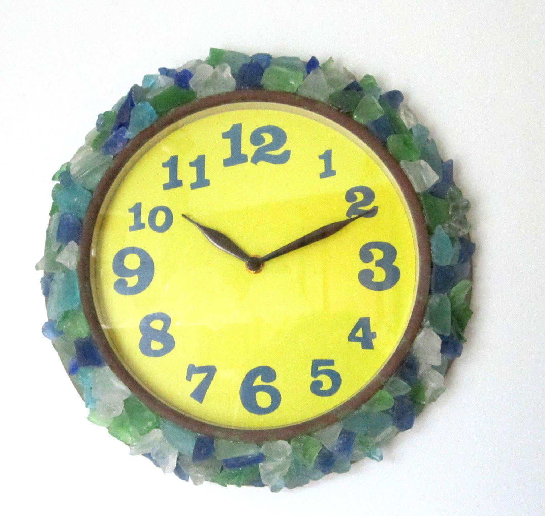 Beach Decor Sea Glass Wall Clock - Nautical Funky Beach Glass Clock ...