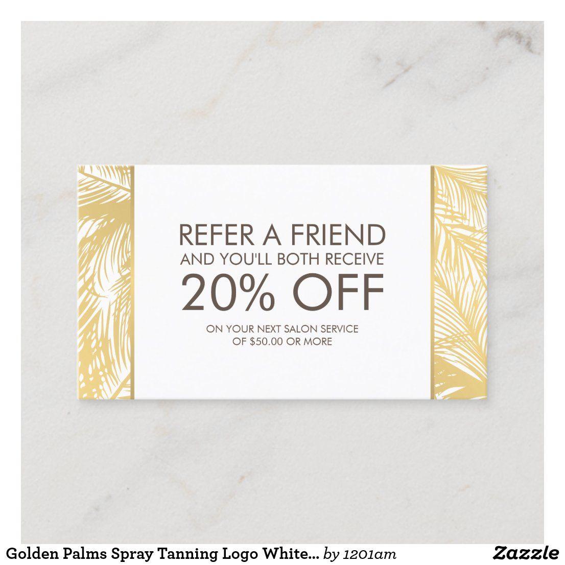 Golden Palms Spray Tanning Logo White Referral Zazzle Com Spray Tan Salons Spray Tanning White Business Card