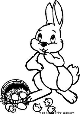 Printable Easter Bunny And Basket Coloring Pages Cartes