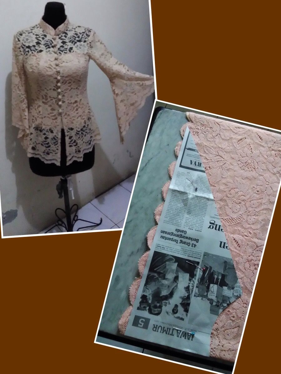 Kebaya sleeves (lengan lonceng)  Desain blus, Pakaian wanita