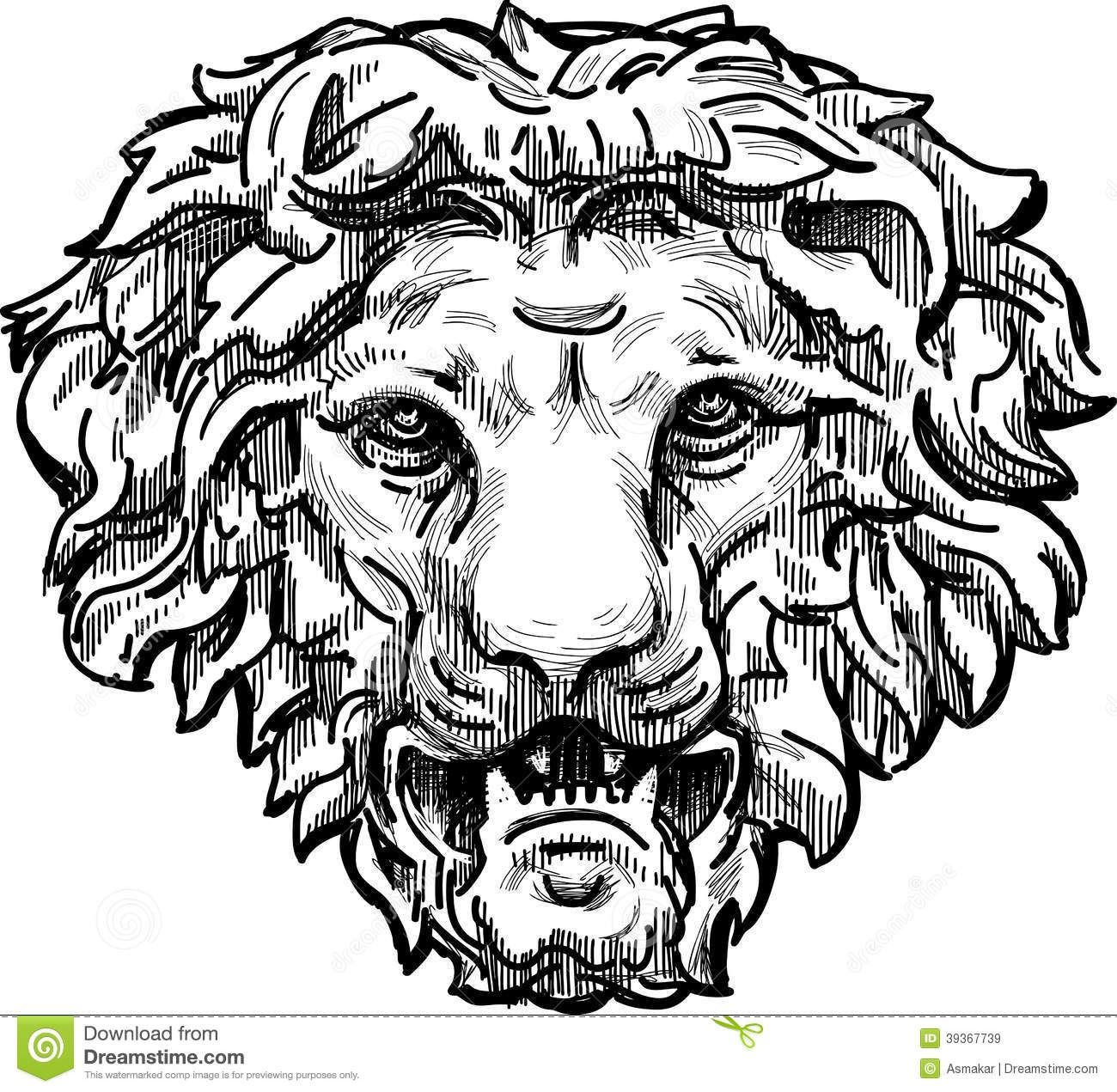 Antique Lion Drawing