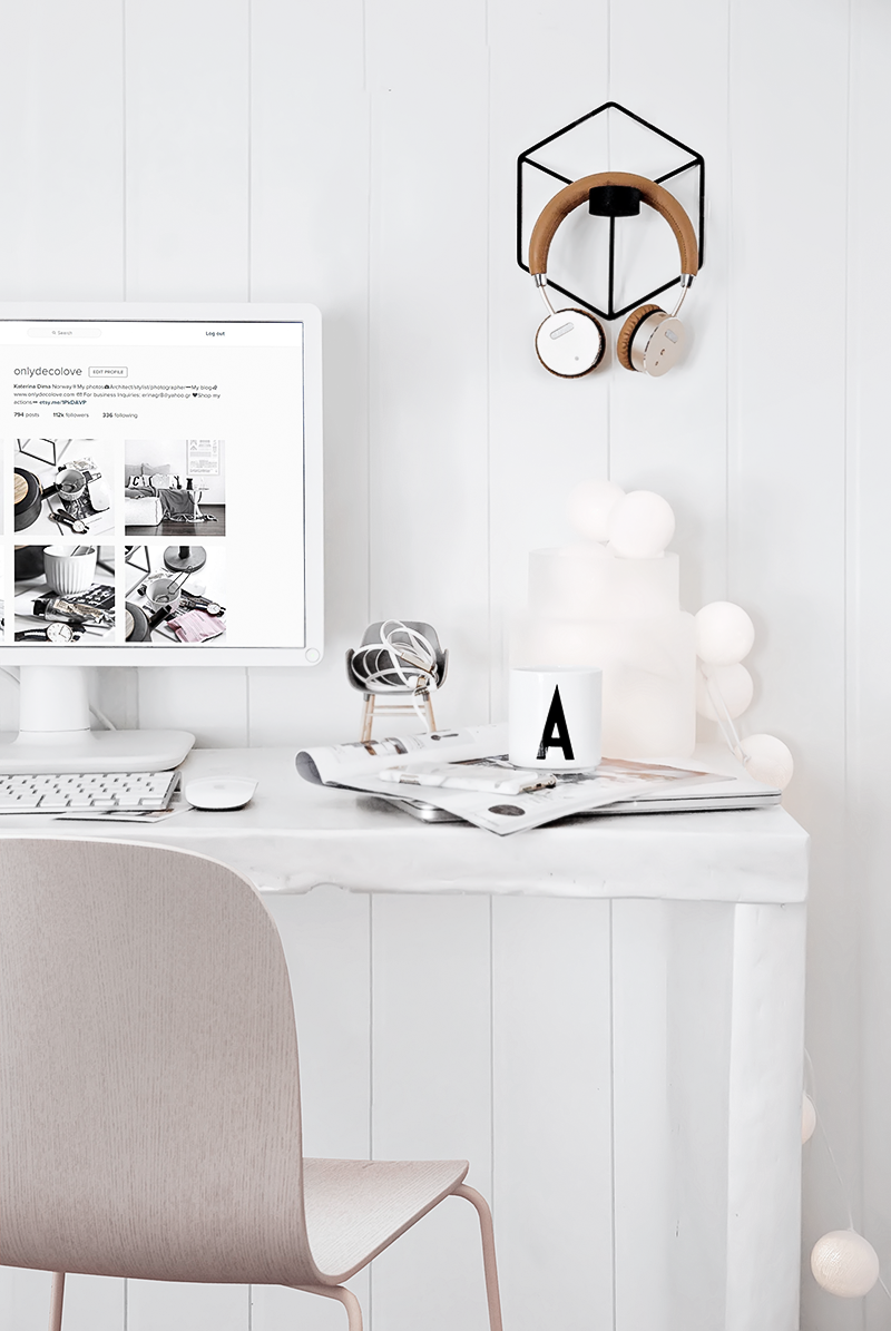 My Scandinavian all white home office (Only Deco Love) | Interiors ...