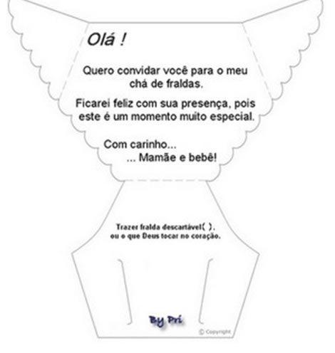 Convite de Chá de bebê - Fraldinha de papel | Moldes ...