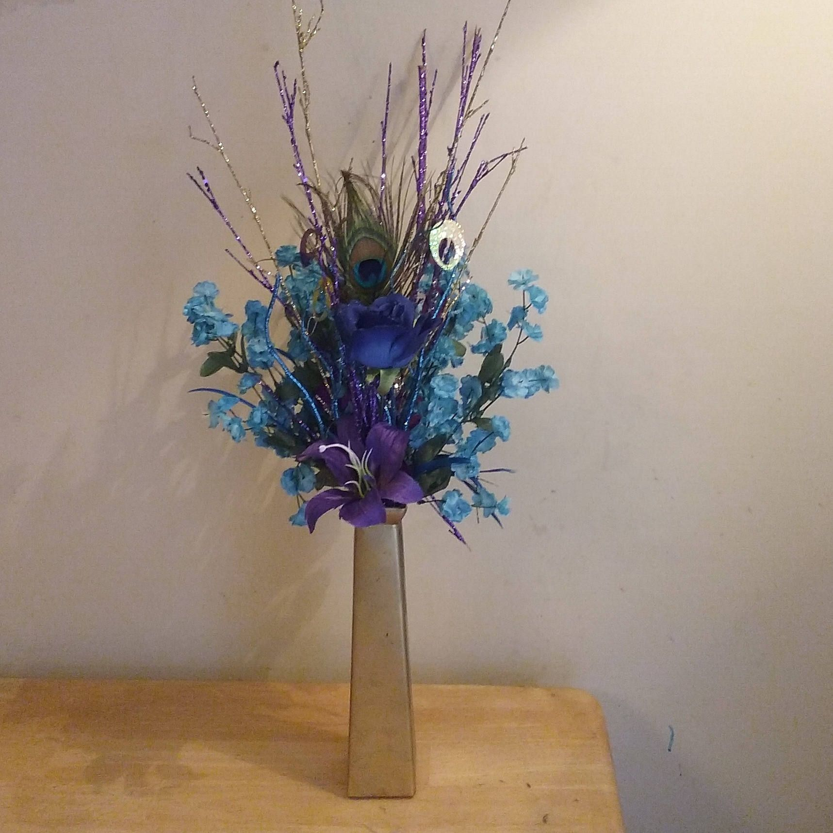 Peacock Wedding Ideas Etsy: Sparkling Peacock Centerpiece With Glitter Branches By