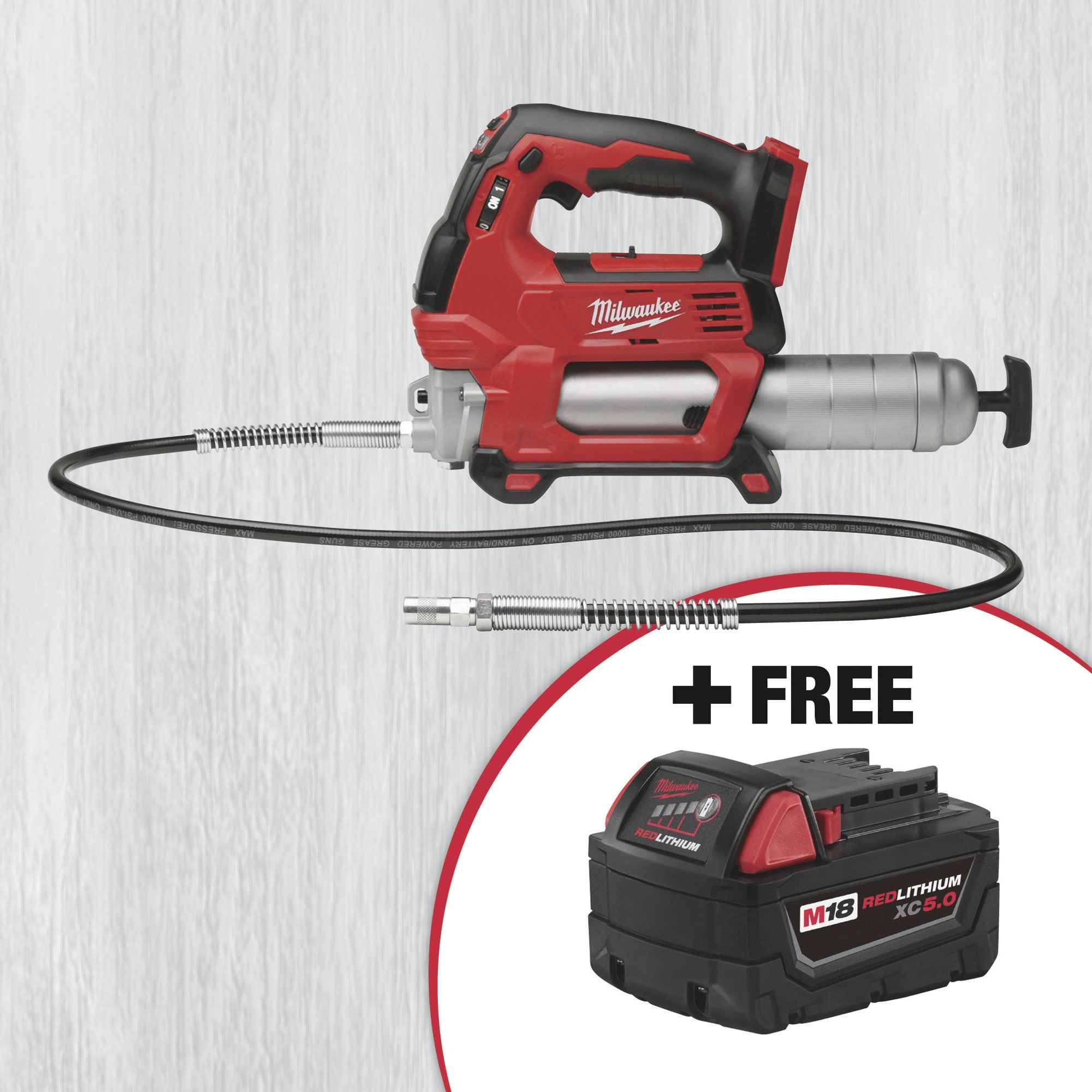 This Milwaukee® M18™ Cordless 2-Speed Bare Grease Gun (Model# 2646-20) comes specially packaged with an M18™ REDLITHIUM™ XC 5.0 battery pack — a $309.99 Total Value! The Milwaukee® M18™ 18V Cordless 2-Speed Grease Gun offers an incredible 10,000 PSI maximum operating pressure and industry-leading maximum flow rate of up to 10-oz. per minute. The high performance grease gun delivers unmatched versatility in the workplace.SAVE MONEY by replacing or adding specific tools that work with the M18 RedL