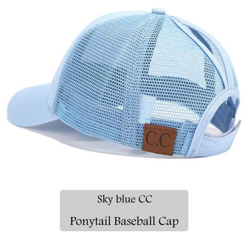 8638f91a58a3 2018 CC Glitter Ponytail Baseball Cap Women Snapback Hat Summer Messy Bun  Mesh Hats Casual Adjustable