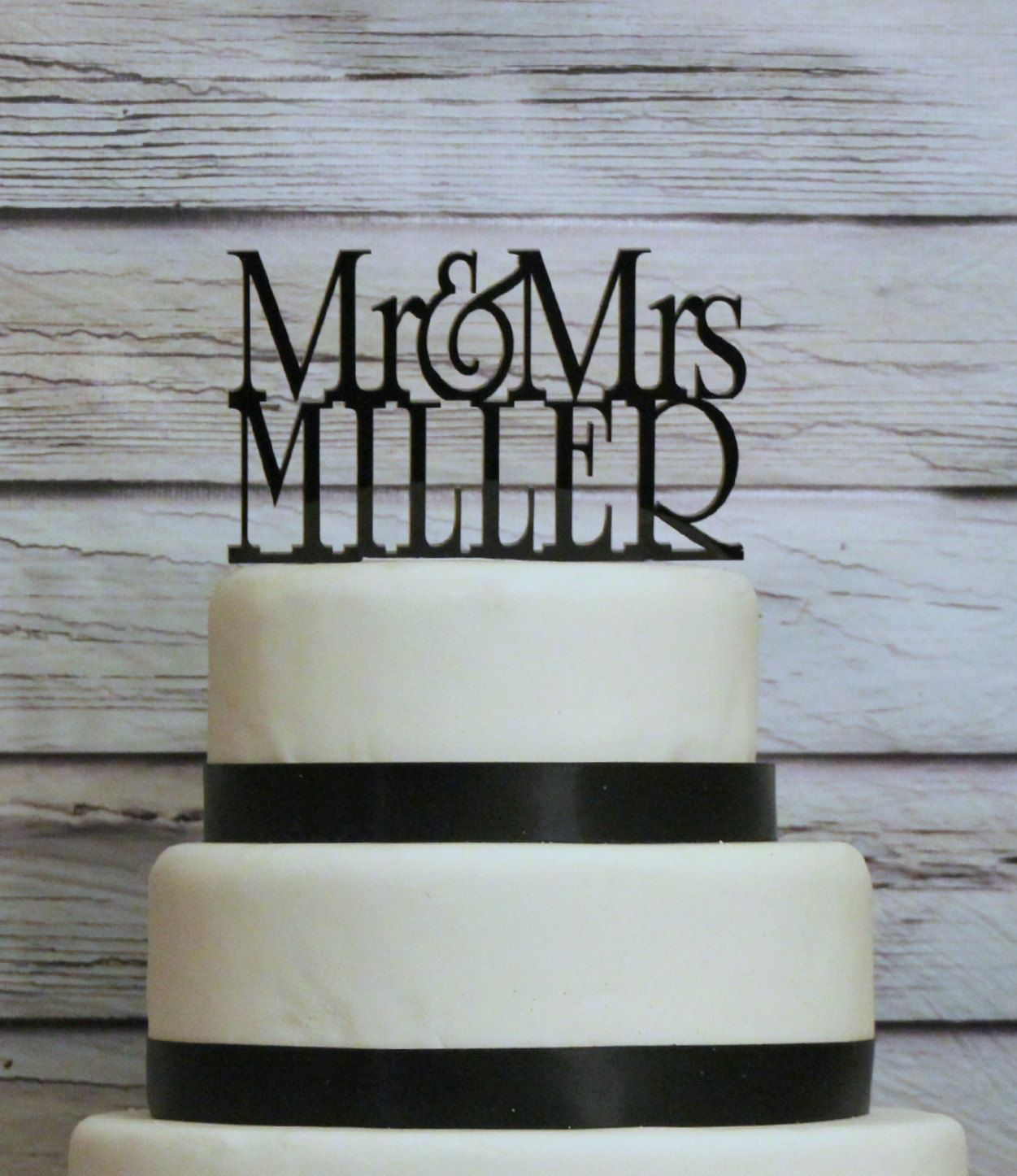 Personalized custom wedding cake topper with your last name