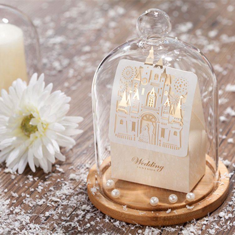 50pcs Gold Castle Shape Wedding Favor Candy Box Wedding
