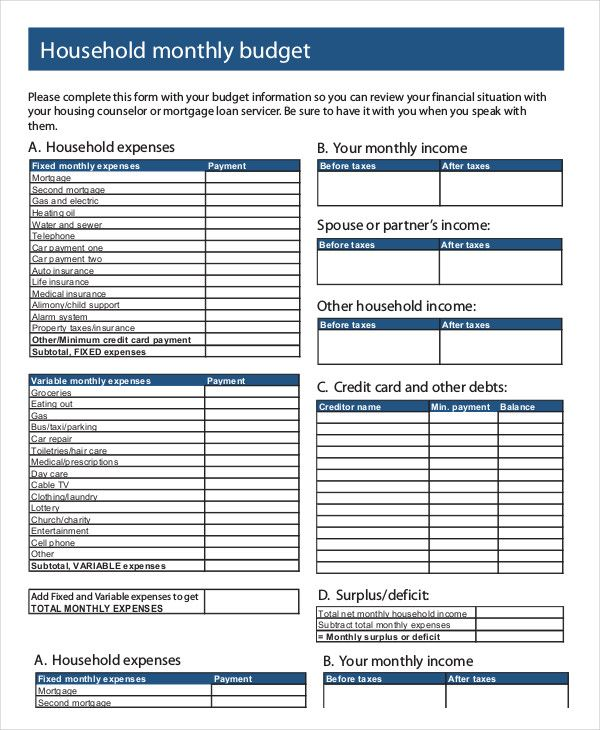 Household Monthly Budget Template , 18+ Monthly Budget Template ...