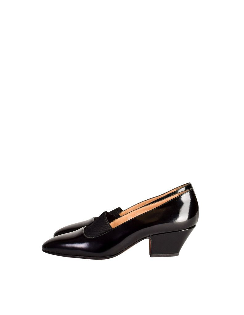 Chloe Vintage Black Patent Leather Stretch Panel Pointed Toe Heels - from Amarcord Vintage Fashion