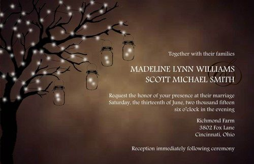 Wedding Invitations Lighted Tree Rustic Country 10 Invitations 10