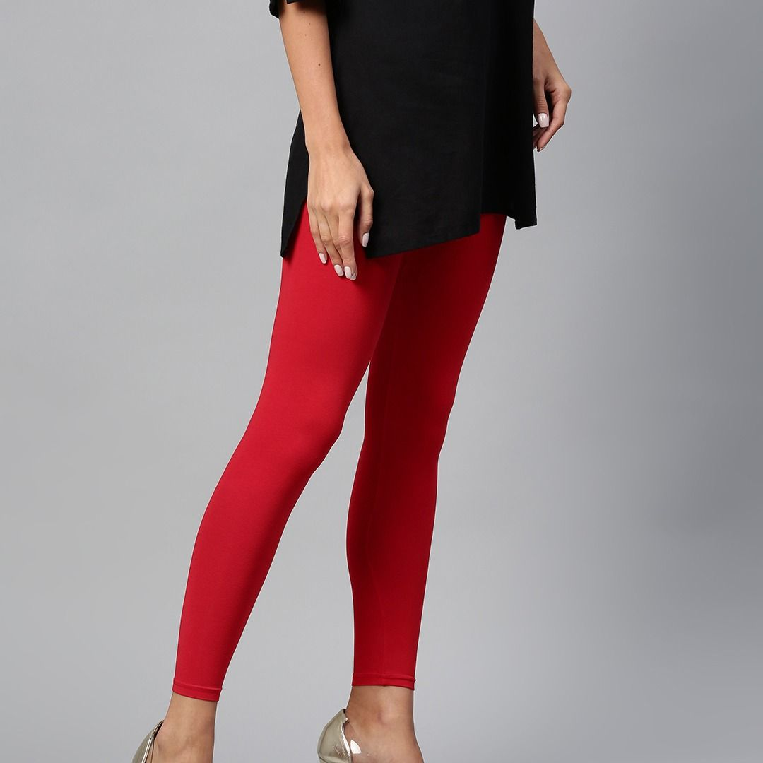 2864c04fda Beautiful Red Solid Ankle-Length Leggings Online in India #Women #Girls # Leggings #jeggings #india