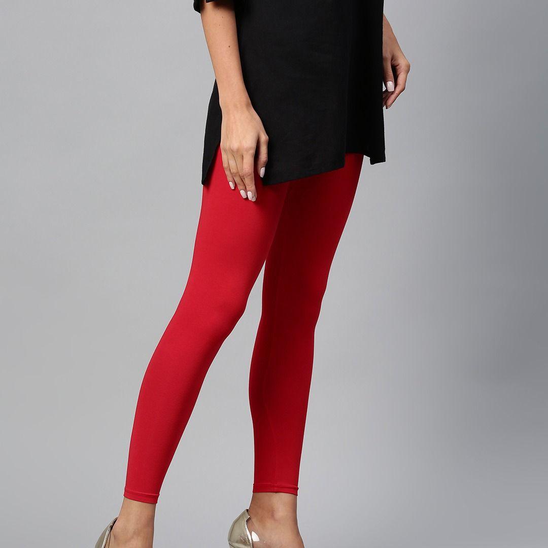 c3e0b4ec46967e Beautiful Red Solid Ankle-Length Leggings Online in India #Women #Girls # Leggings #jeggings #india