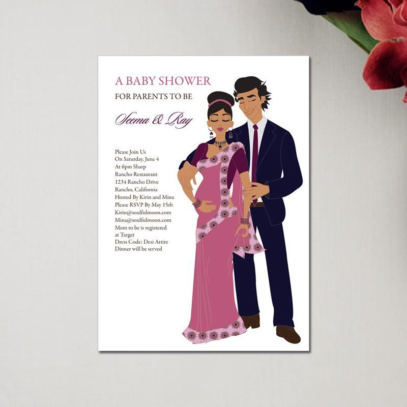Indian Baby Shower Invitations - Starry Couple - Baby Shower ...