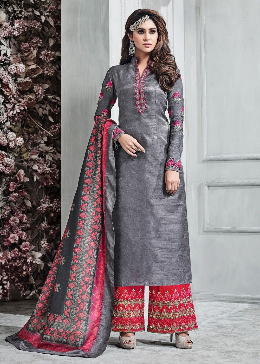 dc4e878b5a Grey & Red Banarasi Silk Palazzo Suit With Embroidery | Gorgeous ...