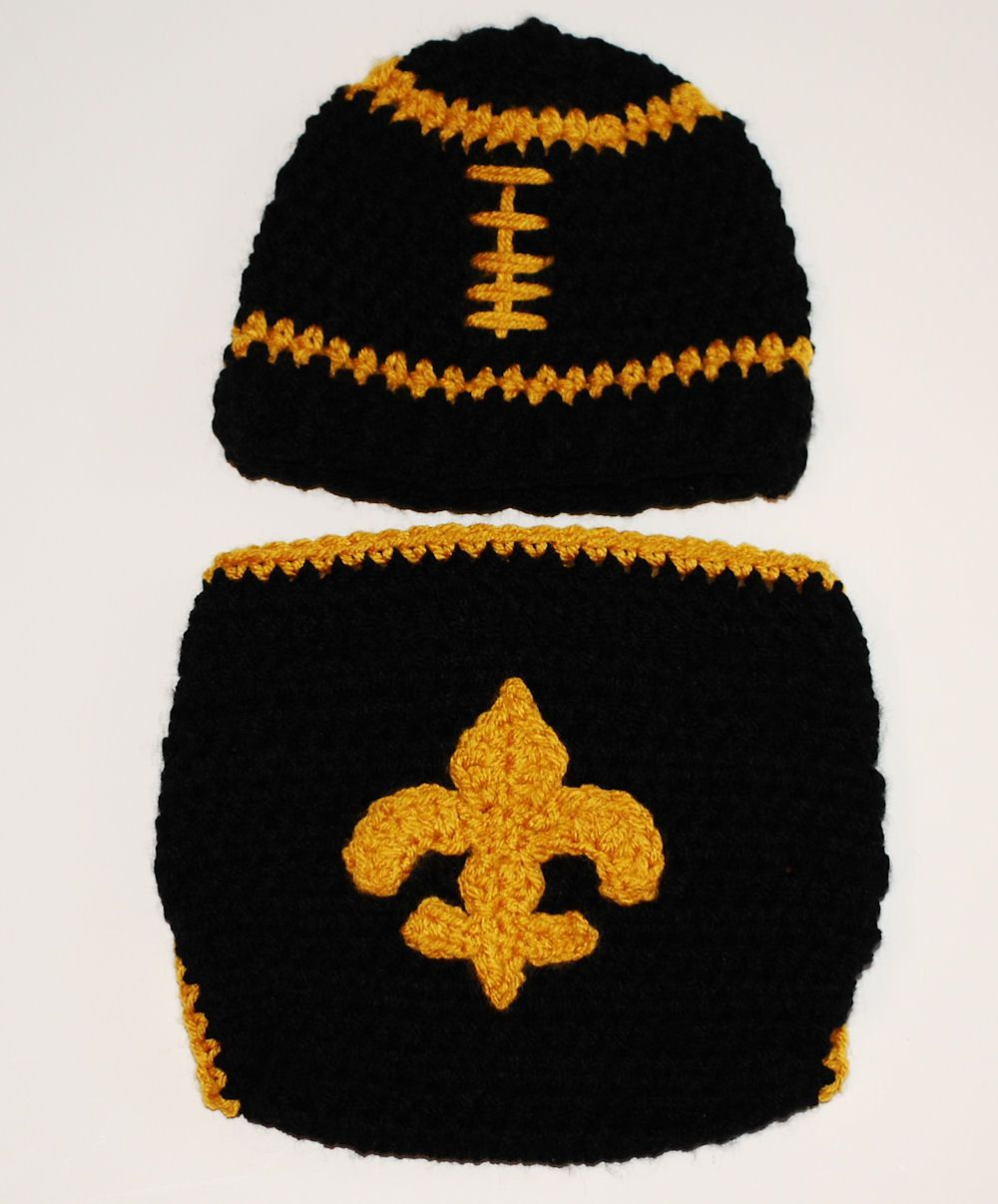 5d78581c13e Saints Football Hat and diaper cover set
