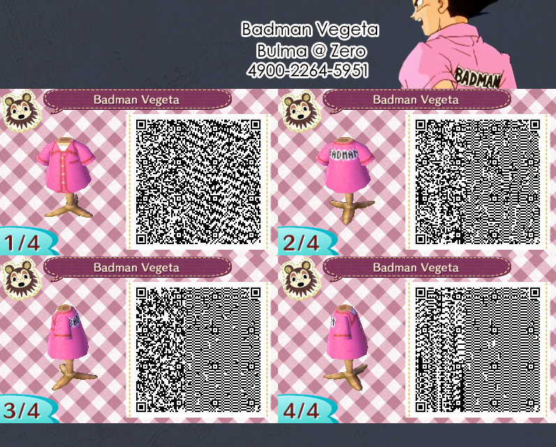 Badman Vegeta QR code that I made for AC:NL #dragonball #animalcrossing #acnl #newleaf #vegeta #dbz