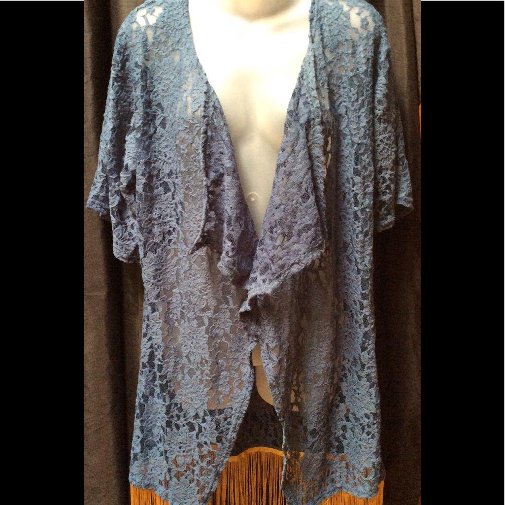 Lularoe Monroe Blue & Gold Fringed Open Cardigan | Open cardigan ...