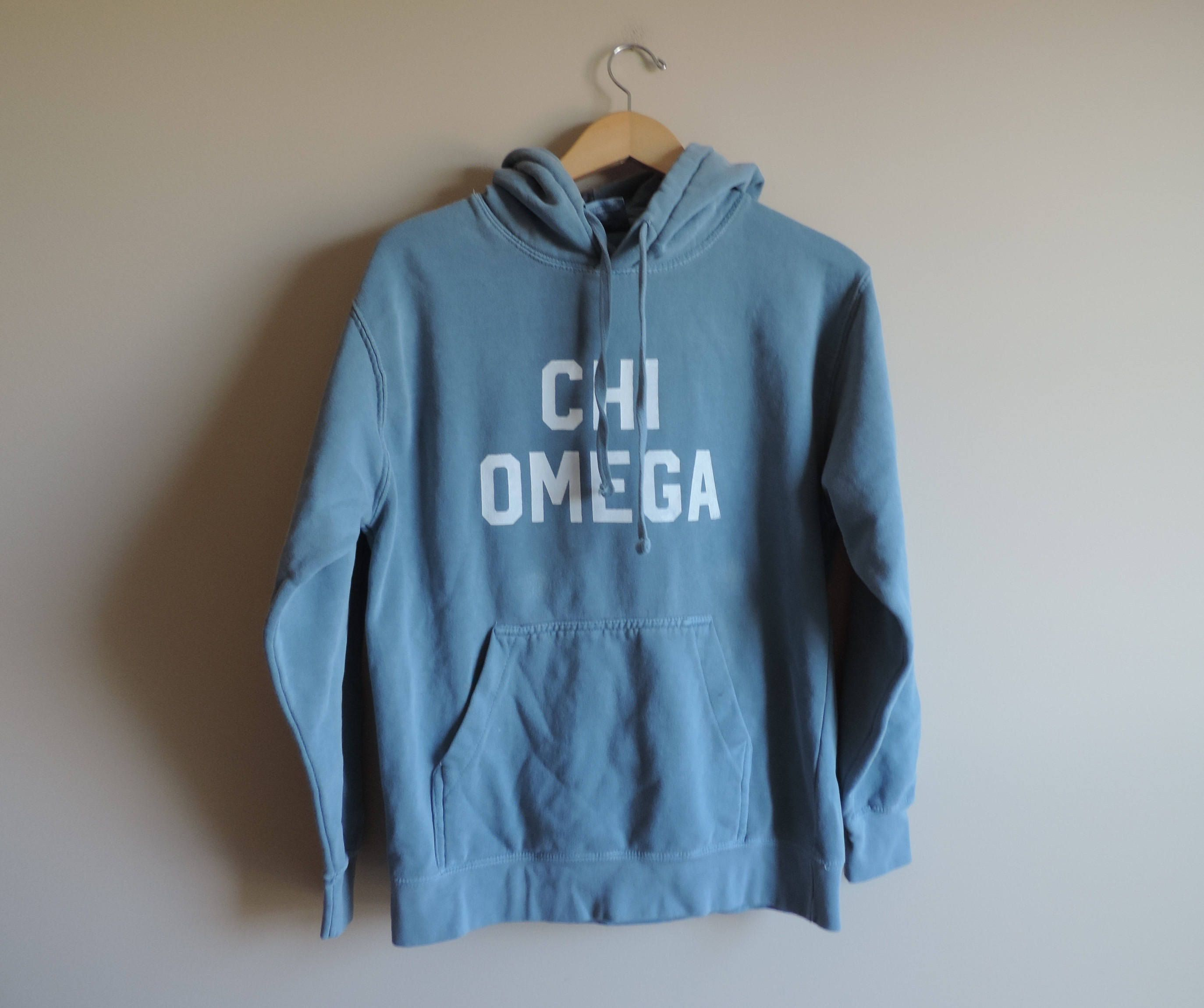 New Chi Omega Comfort Color Blue Jean Hoodie Sweatshirt Ready