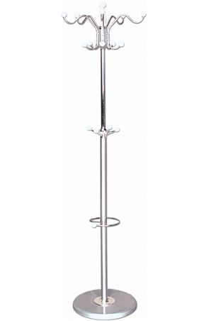 NEW BROWN SILVER METAL HOOK COAT STAND WITH UMBRELLA HOOKS MARBLE EFFECT