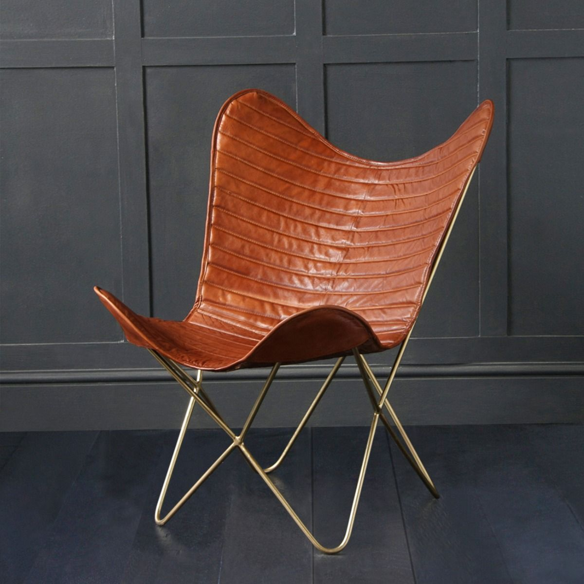 Butterfly accent chair genuine leather tangold ribbed