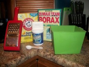 or every one bar of soap, add 1 cup of Borax, 1 cup of Washing Soda, 1/2 cup Baking Soda, and 1/4 cup Oxygen cleaner (if desired).