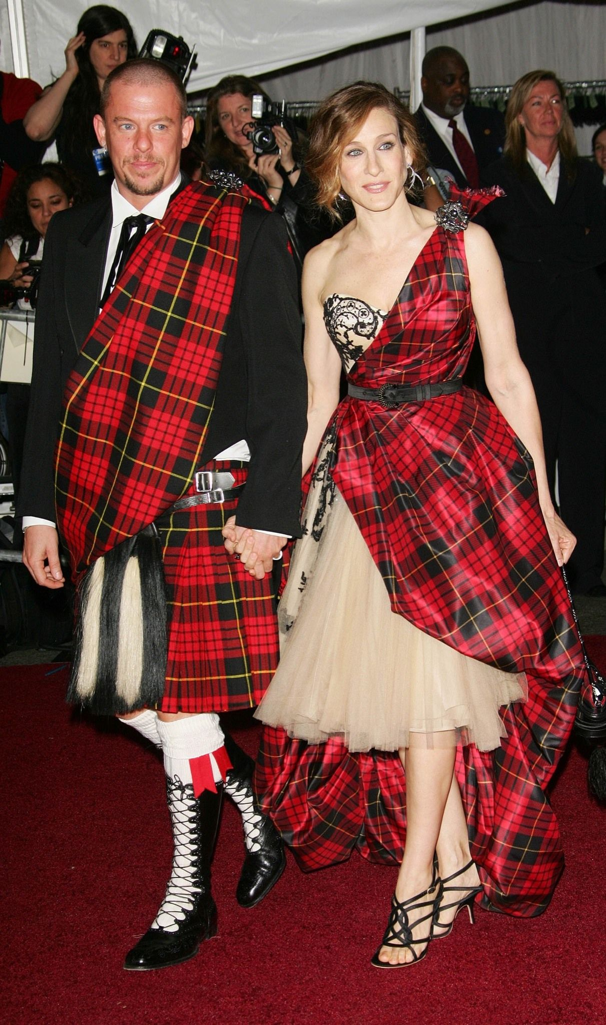 Plaid wedding dress  Happy Birthday Sarah Jessica Parker  Alexander McQueen