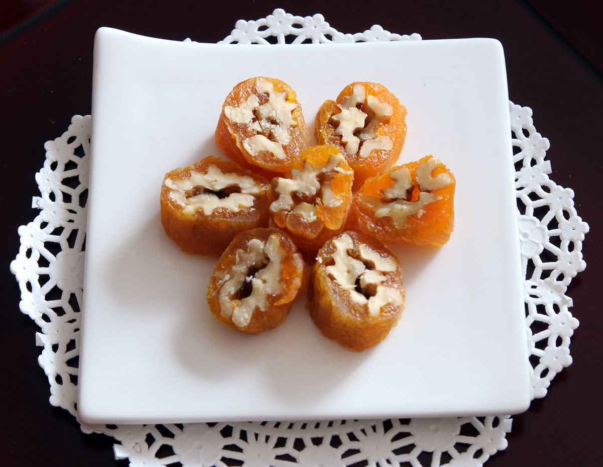 Korean Gotgamssam (곶감쌈)! Walnuts wrapped in dried persimmons! Yum!