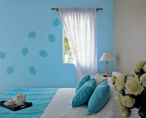 Royale luxury emulsion paints for bedroom soft blue 9210 for Asian paints interior wall designs