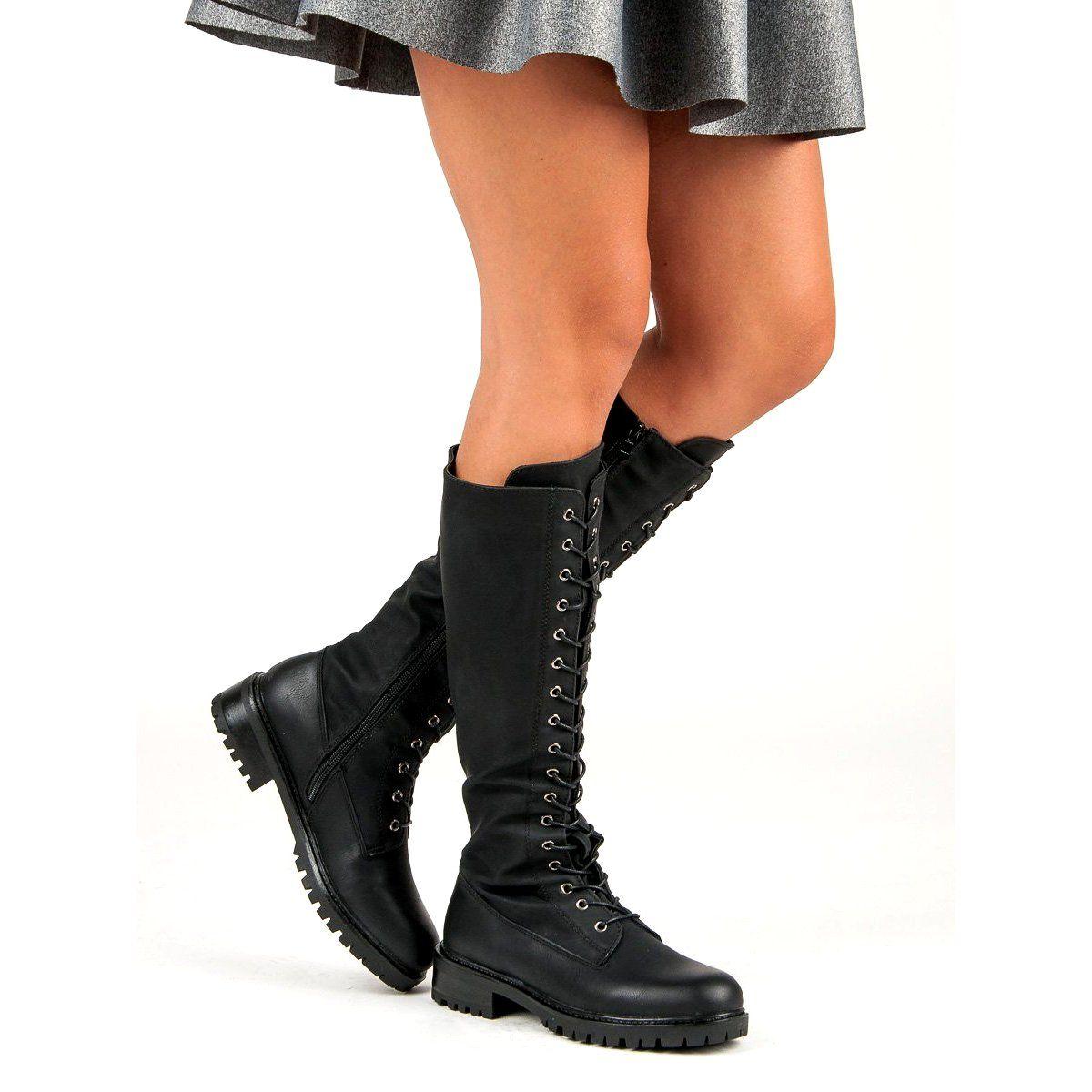 Sds Sznurowane Kozaki Damskie Czarne Combat Boots Shoes Boots