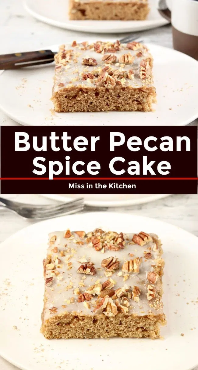 Butter Pecan Spice Cake is a great dessert for celebrations, holidays and get togethers with friends and family. A simple made from scratch cake that is lightly glazed and topped with toasted pecans. #togetherwithfriends