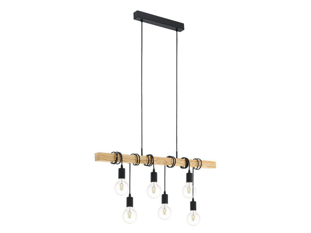 Suspension barre 6 lumi¨res en bois longueur 100cm Townshend