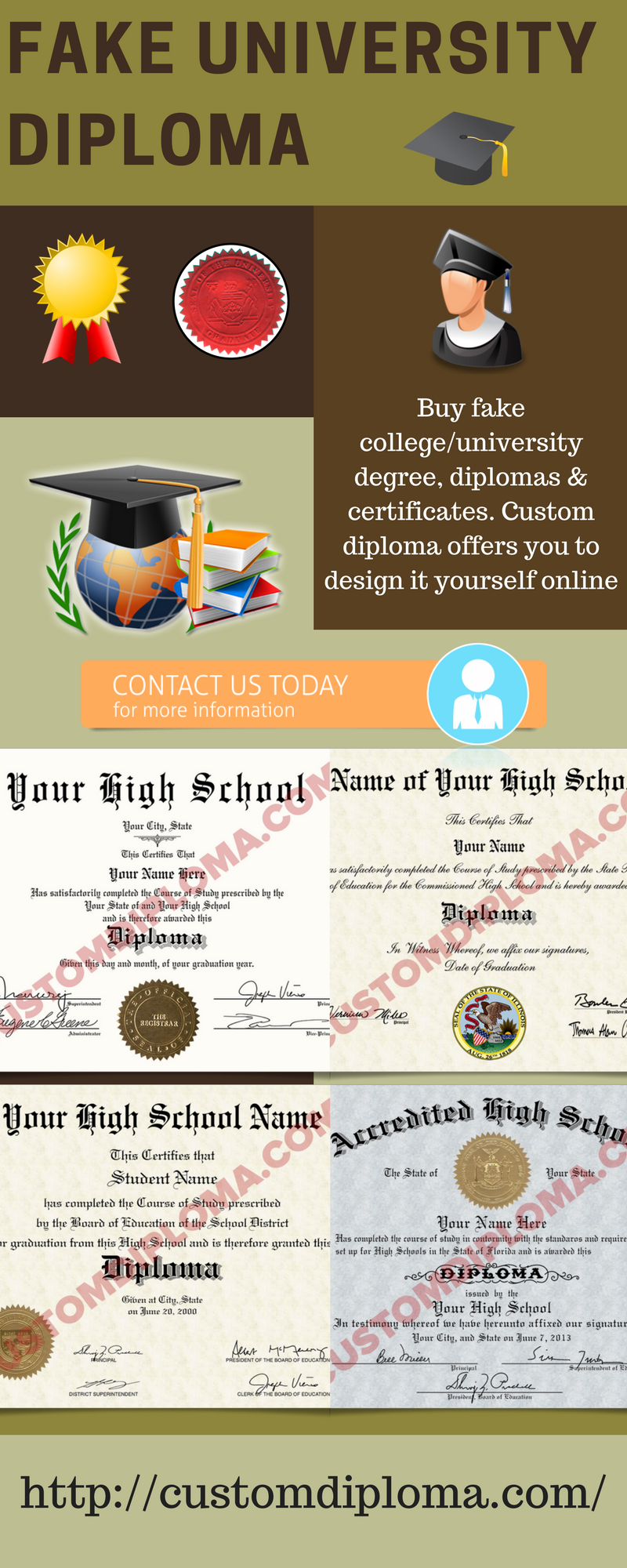Buy fake college/university degree, diplomas & certificates. Custom diploma  offers you to design it yourself online and order printed version at $69  only.