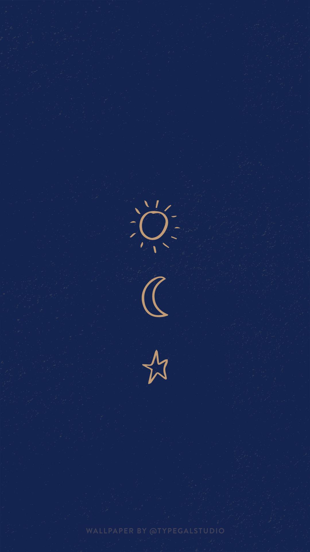 Simple Sun Moon Star Phone Wallpaper By Typegal Com Iphone Wallpaper Moon Moon And Stars Wallpaper Hippie Wallpaper