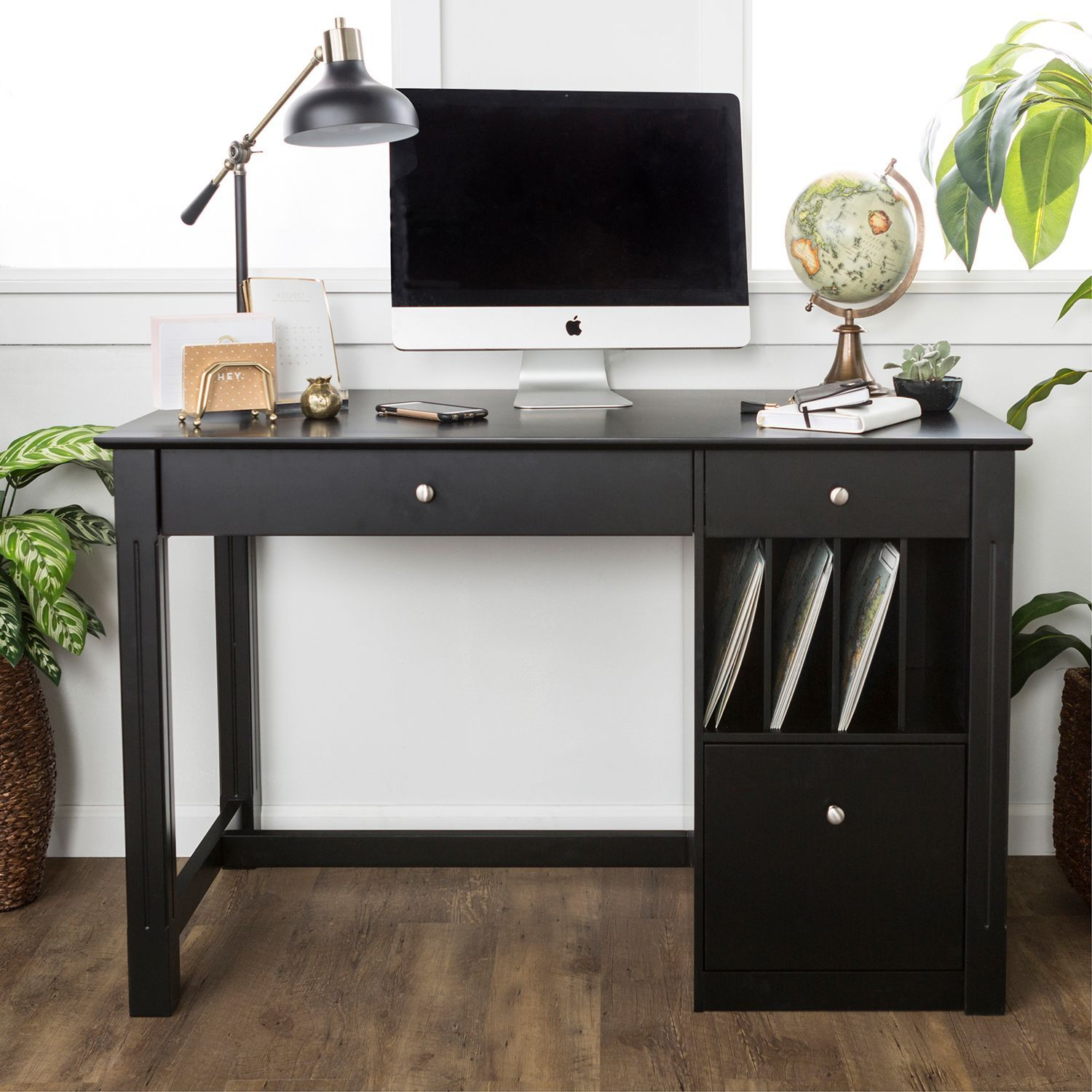 Black Deluxe Wood Storage Computer Desk Home office