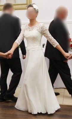 Długa Prosta Suknia ślubna Bez Koła Rękaw 34 Allegro Pinterest