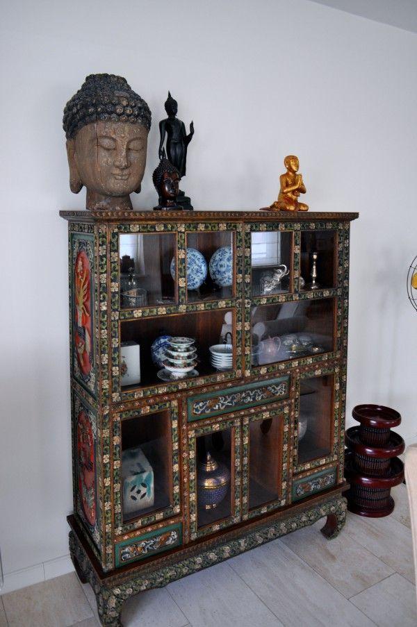 Aziatische kast houtsnijwerk na STIJLIDEE Interieuradvies en Styling
