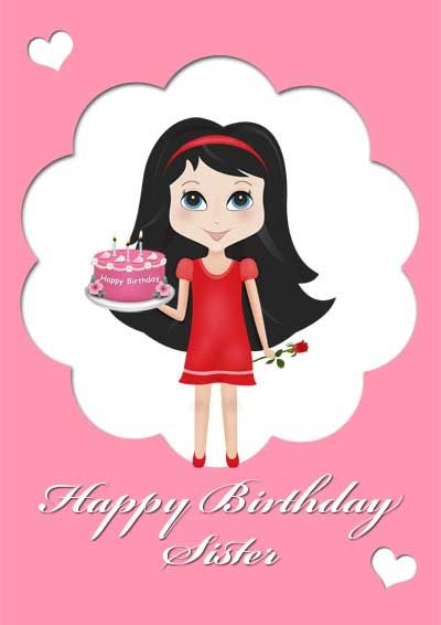 Printable birthday card for sister - my-free-printablecards - free birthday card printable templates