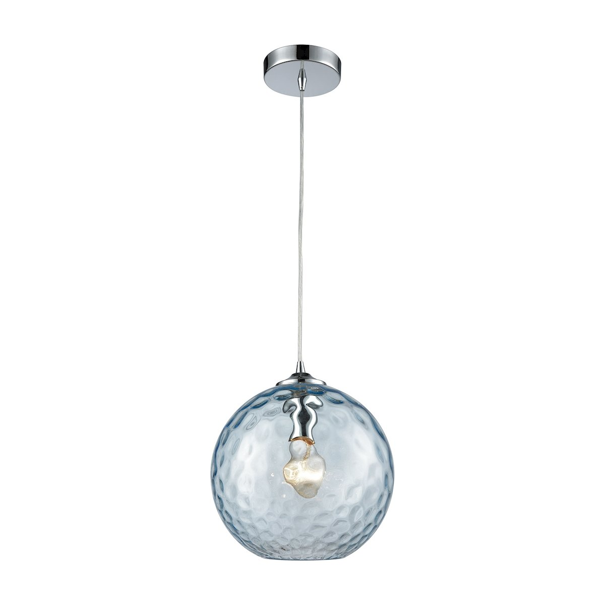 Watersphere 1 Light Pendant In Polished Chrome With Aqua Hammered Glass by Elk Lighting Group