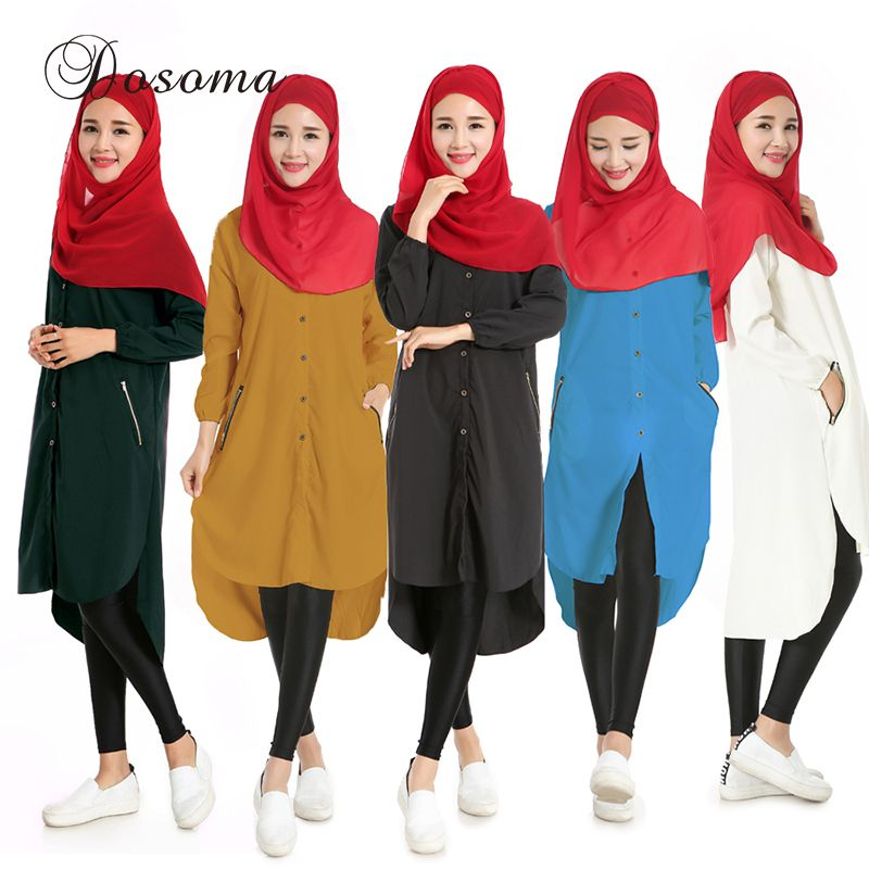 a25e9177a202 Casual Muslim Shirt Dress Islamic Chiffon Instant Hijab Abaya Kimono Women  Sleeve Maxi Robe Burka Vestidos Solid Saudi Arab  Hijab dress