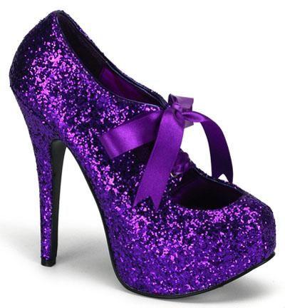 Purple sparkle shoes.