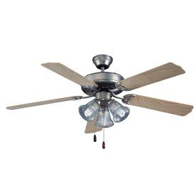 Royal Pacific Royal Star 52 In Brushed Pewter Downrod Or Close Mount Indoor Ceiling Fan With Light Kit Energy Star Ceiling Fan Ceiling Fan With Light Fan
