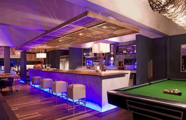 Playroom with a bar pool table Home Bar Design with Stylish